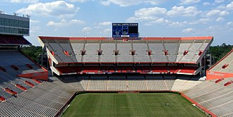 "Ben Hill Griffin Jr. - The University of Florida's football stadium, Ben Hill Griffin Stadium, viewed from the south endzone.  The stadium was known as Florida Field until 1989, when it was officially rechristened ""Ben Hill Griffin Stadium at Florida Field."""