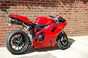 A Ducati 1098 motorcycle seen on the street.