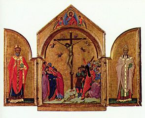 Triptych: the Crucifixion; the Redeemer with Angels; Saint Nicholas; Saint Gregory