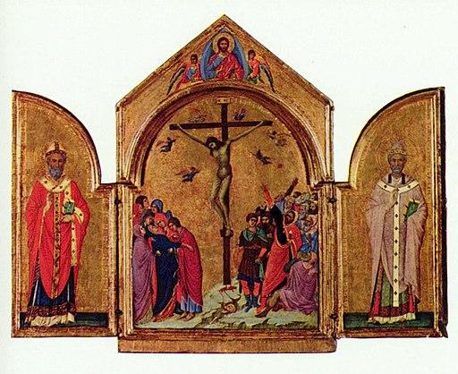 Duccio di Buoninsegna en atelier (c. 1260-1318), Trittico con la Crocifissione tra i santi Nicola di Bari e Gregorio (Triptiek van Boston), 1304-1307, Museum of Fine Arts, Boston