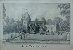 Duns Tew - Undated engraving of the parish church from the south, possibly 18th century, showing its appearance before its Victorian restoration