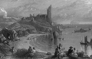 Ailsa Craig - Ailsa Craig in the background with Dunure in 1840