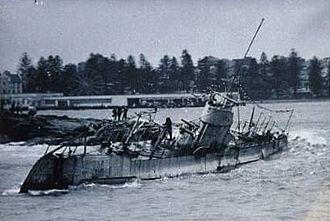 Fairlight, New South Wales - Dutch submarine K-12 on Fairlight Beach in 1949