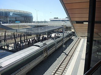 Perth Stadium - The purpose-built Perth Stadium railway station, serviced by Transperth's Armadale and Thornlie Line services.