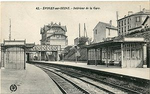 Grande Ceinture line - The gare d'Épinay-sur-Seine on the Ligne des Grésillons (now RER line C). The Grande Ceinture passes on the second bridge.