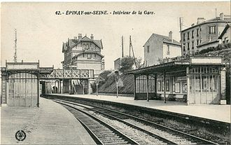 Gare d'Épinay-sur-Seine - View of the station in the early 20th century; rear bridge carries Grande Ceinture line