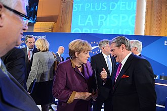 Sali Berisha - Berisha with Angela Merkel during the EPP Congress in Bucharest, 2012
