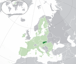 Location of  Slovakia  (dark green)– in Europe  (green & dark grey)– in the European Union  (green)  —  [Legend]