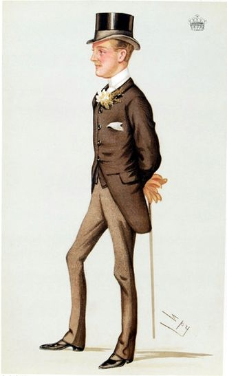 """Charles Chetwynd-Talbot, 20th Earl of Shrewsbury - """"the premier Earl""""   Caricature of Talbot, aged 19, by  Leslie Ward in Vanity Fair, July 1880"""