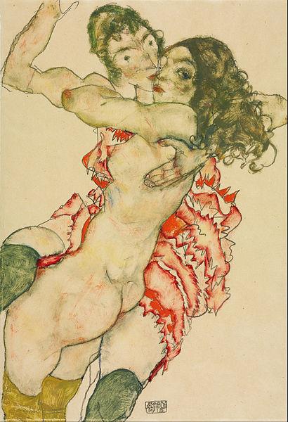 Egon Schiele, Two Women Embracing