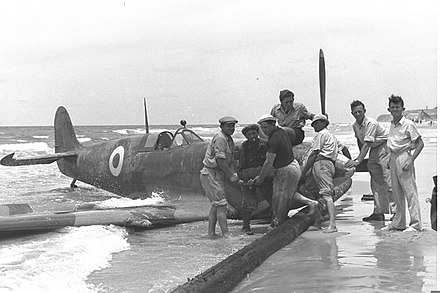 An Egyptian Spitfire shot down over Tel Aviv on 15 May 1948 Egyptian Plane TA 1948.jpg