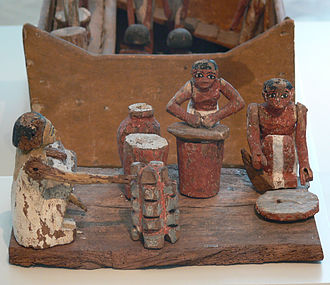 Women in ancient Egypt - Kitchen model; women workers grinding, baking and brewing. Bread- and beer-making (made of fermented bread) were usually women's tasks. Twelfth dynasty of Egypt, 2050-1800 BCE. Egyptian Museum of Berlin.