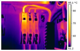 Thermography - This thermogram shows excessive heating on a terminal in an industrial electrical fuse block.