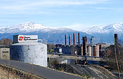 View of the Elkem Bjølvefossen company in Ålvik