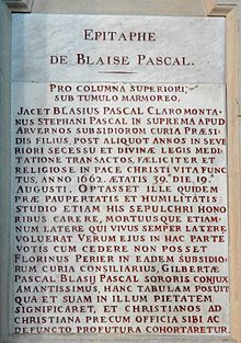 Pascal's epitaph in Saint-Étienne-du-Mont, where he was buried