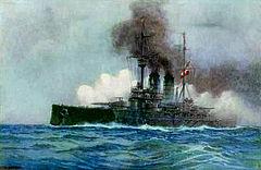 """Pocztówka z 1908 r. przedstawiająca pancernik SMS """"Erzherzog Franz Ferdinand"""""""