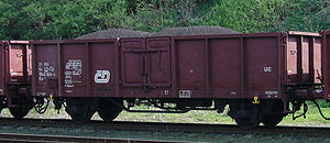 Open wagon - A Czech (ČD) twin-axled open wagon of UIC Type 2 in Raspenava
