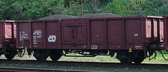 Open wagon - A Czech (ČD) twin-axled open wagon of UIC Type 2 in Raspenava