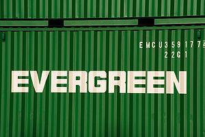 Evergreen Marine - Evergreen's trademark green worldwide shipping containers.