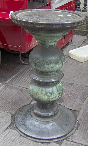 """The Exchange, Bristol - Bronze table called a """"nail"""", outside The Exchange, Bristol"""