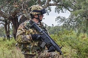 Beretta ARX160 - Italian Lagunari reconnaissance soldier with the ARX160 A2.