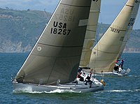 Express 37's pHat Jack and Stewball racing in the Spring One Design Regatta of the St Francis Yacht Club on San Francisco Bay, California, USA