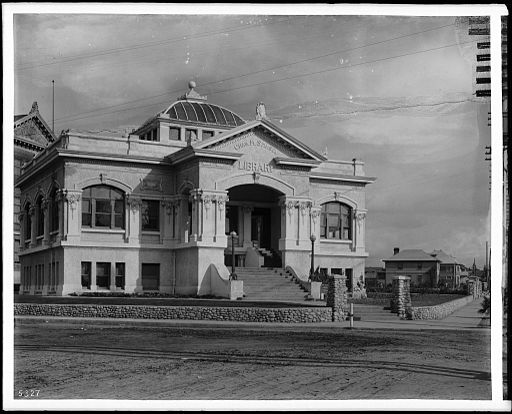 Exterior view of the Chas. M. Stimson Library, built in 1904 on the Occidental College Highland Park Campus, ca.1908 (CHS-5327)