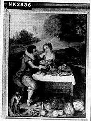 Paar aan tafel in landschap