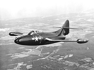 Grumman F9F Panther - An F9F-3 Panther fitted with an experimental Emerson turret housing four 12.7 mm machine guns, in 1950
