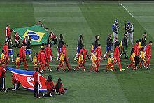 0f548de66 The Brazilian and North Korean teams before their group stage match.  Further information  2010 FIFA World Cup squads