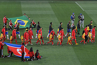 2010 FIFA World Cup - The Brazilian and North Korean teams before their group stage match