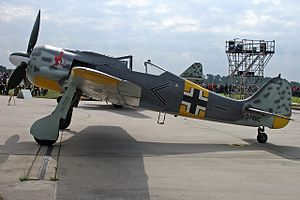 Erich Rudorffer - Fw 190 A8/N reproduction by Flug Werk GmbH Germany in the colors (minus the Swastika) and markings of Major Erich Rudorffer's mount of JG 54 when stationed at Immola, Finland.