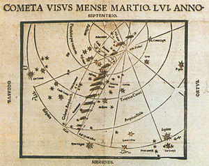 Great Comet of 1556 - An astronomical broadsheet by Paul Fabricius, showing the map of the 1556 comet's course