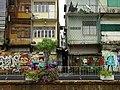 Facades and Graffiti along Canal - Chinatown - Bangkok - Thailand (34582044321).jpg