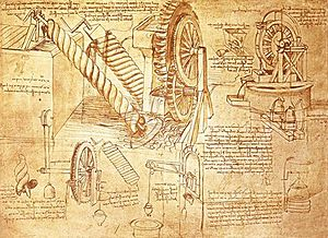 Codex Atlanticus - Waterwheels and Archimedean screws