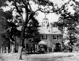 Fairfax, Virginia - Fairfax Court House, Virginia, with Union soldiers in front and on the roof, June 1863