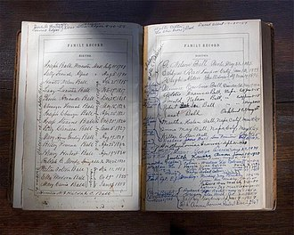 Genealogy - A family history page from an antebellum era family Bible