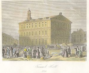 Ancient and Honorable Artillery Company of Massachusetts - Faneuil Hall in 1776. The Artillery Company is headquartered on the fourth floor of Faneuil Hall