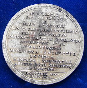 Treaty of Nystad - Image: Fe Medal 1721 Treaty of Nystad Peter the Great, Reverse