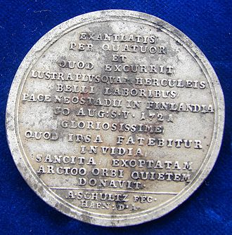 Treaty of Nystad - Image: Fe Medal 1721 Treaty of Nystad Peter the Great, Reverse