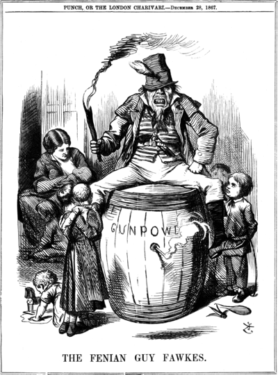 "The Irish Republican Brotherhood was one of the earliest organizations to use modern terrorist tactics. Pictured, ""The Fenian Guy Fawkes"" by John Tenniel (1867). Fenian guy fawkesr1867reduced.png"