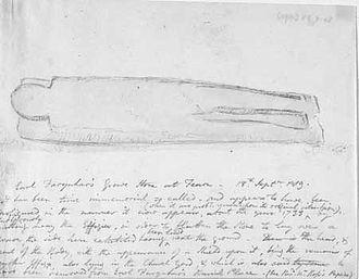 Fearchar, Earl of Ross - Hutton's sketch of Ferchar's tomb, Fearn Abbey, 1819.
