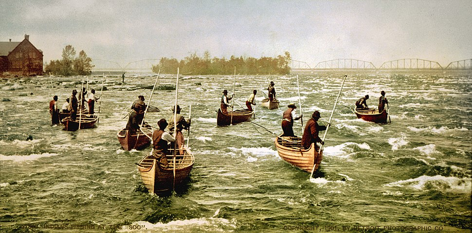 Fishing at Saint Mary%27s River, Sault Sainte Marie, Michigan, 1901