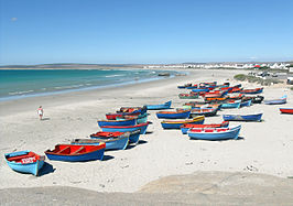 Fishing boats on the Paternoster beach in South Africa Nov 2009.jpg