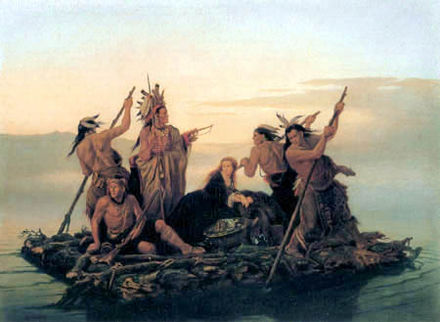 Five Indians and a Captive, painted by Carl Wimar, 1855 Five Indians and a Captive.jpg