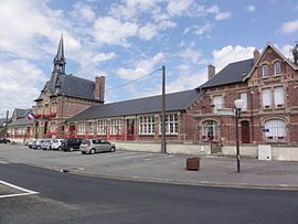 The town hall and schools of Flavy-le-Martel
