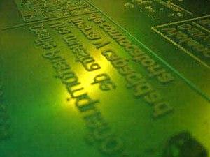 Flexography - A flexographic printing plate.