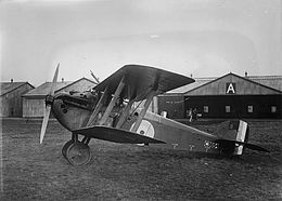 Single-engined military biplane with staggered wings