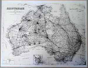Donald George Mackay - Map of flights by Frank Neale, including those for the Mackay aerial exploration of Central and Western Australia