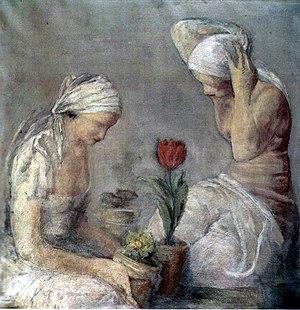 Leopold Gottlieb - Women with a tulip